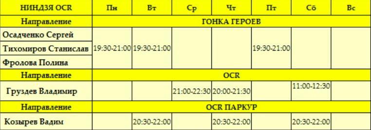 расписание тренировок по ниндзя ocr для взрослых