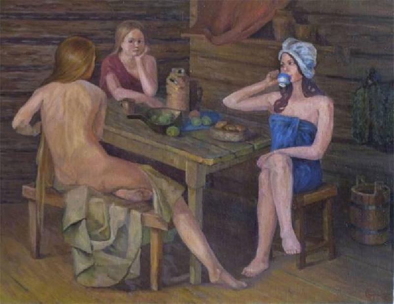 Девки моются в общественной бане
