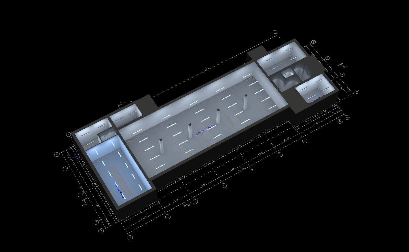 Визуализация освещения первого этажа на виде сверху