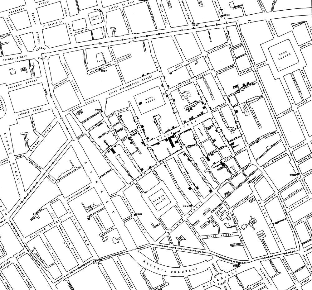 Карта Джона Сноу, накоторой отмечены кластеры случаев холеры.