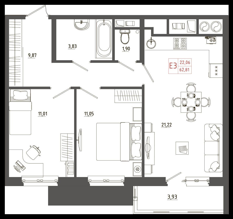 Трехкомнатные квартиры, евро-3, смарт-квартира
