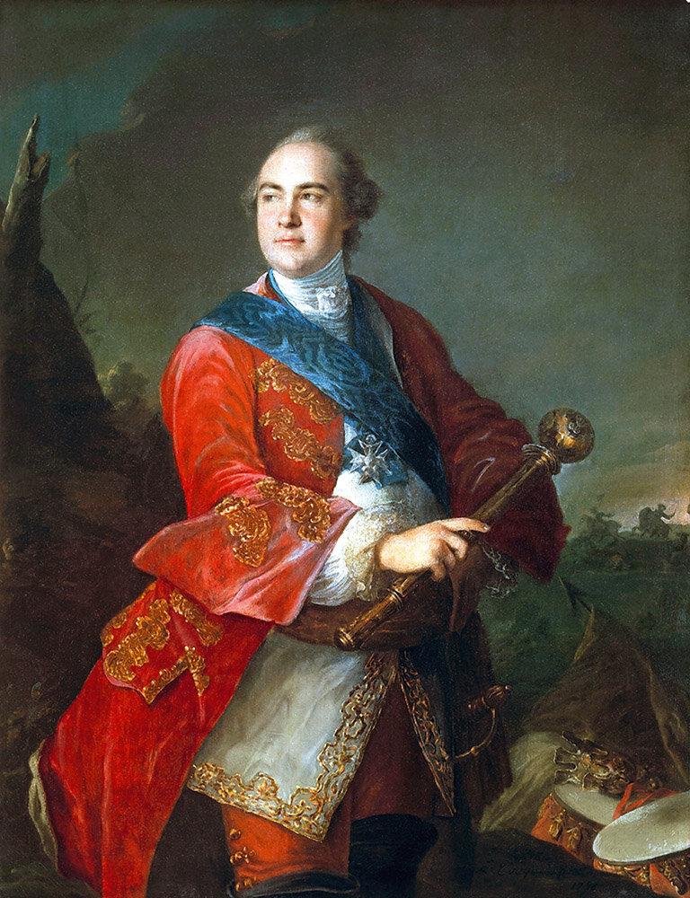 Луи Токке. «Кирилл Разумовский с гетманской булавой» (1758)