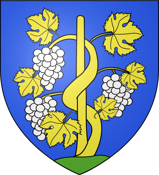Coat of Arms of the Grand Cru village of Avize. Note the color of the grapes.