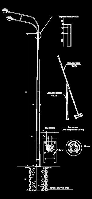 Опоры складывающиеся фланцевые граненые тип П-ФГ