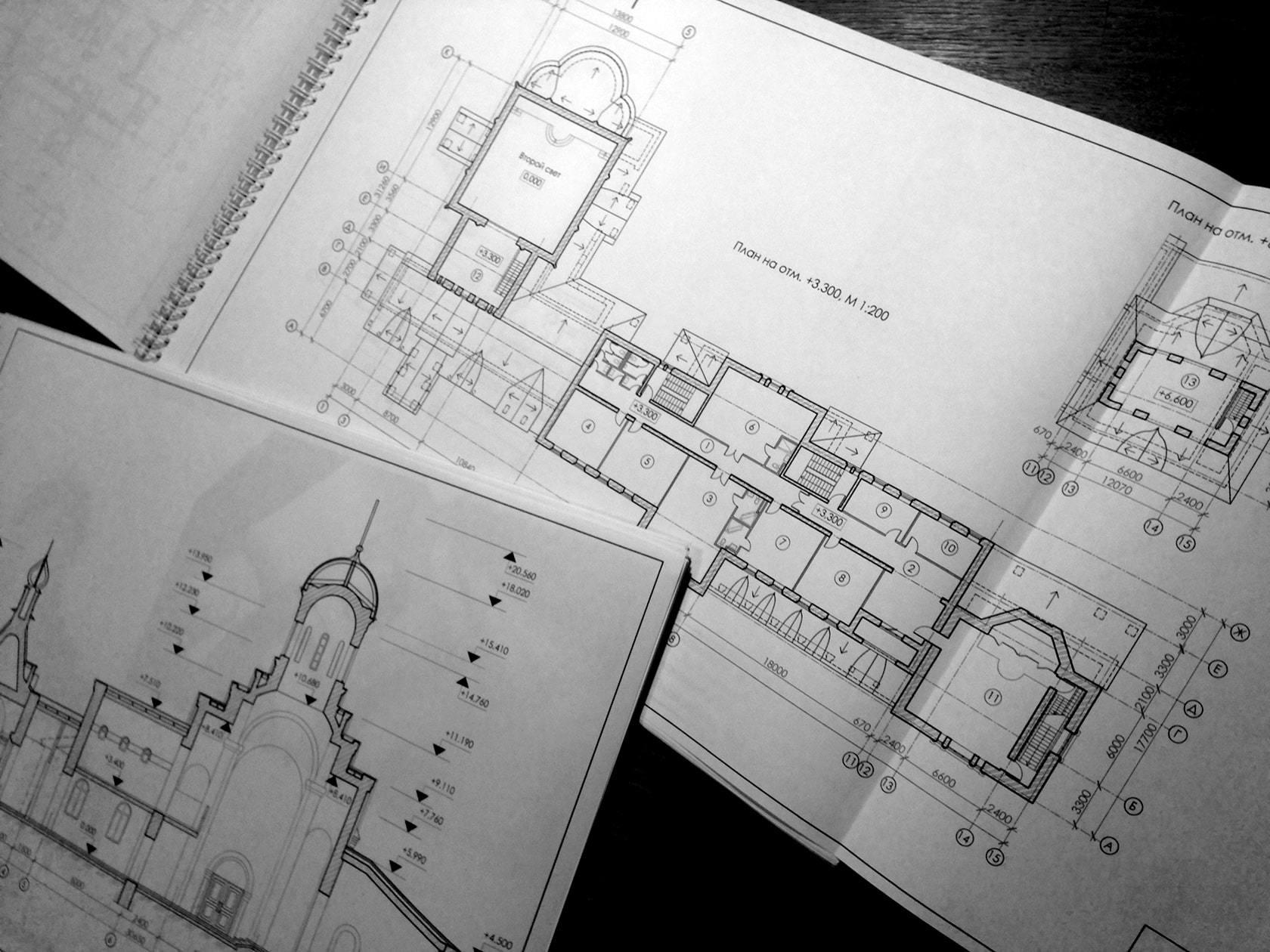 Чертежи восстановления и реконструкции храма и строительства нового корпуса Иверского монастыря