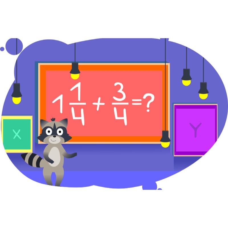 Енот показывает решение примера с числовыми закономерностями