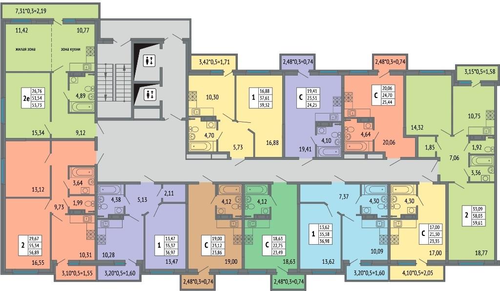 Планировки квартир ЖК Светлоград от застройщика