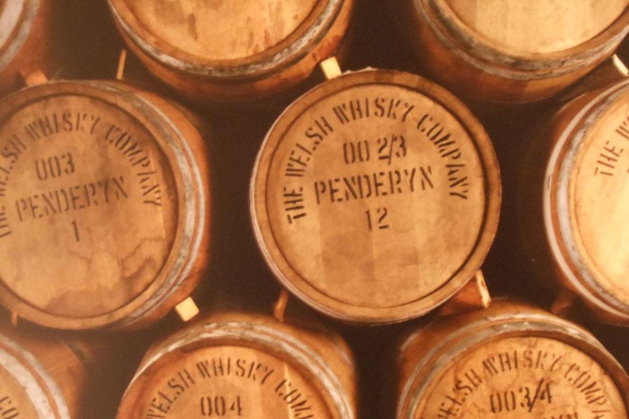 Whisky casks at Penderyn Distillery