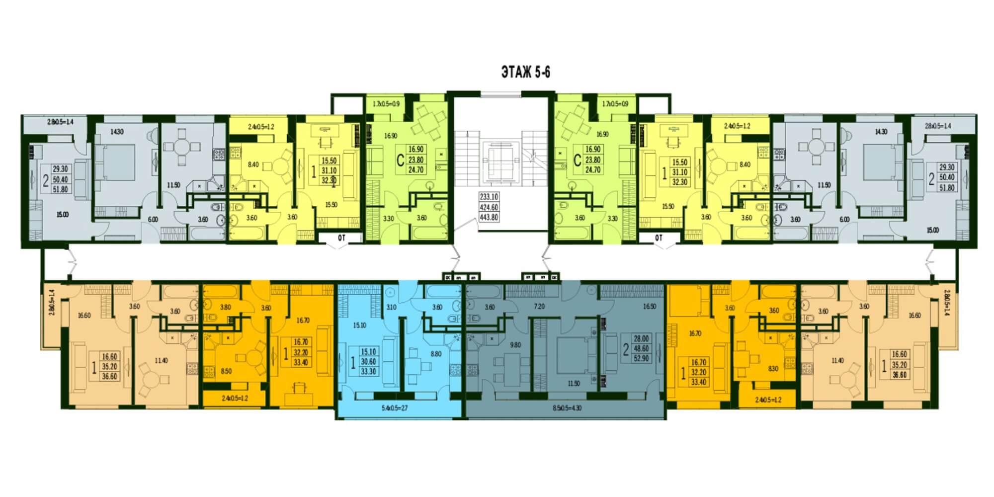 планировки 5-6 этаж ЖК Марсель 2 в Краснодаре