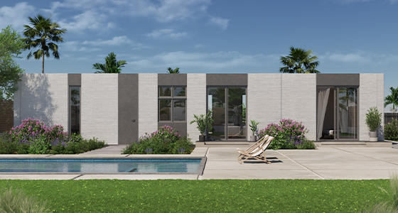 Mighty Buildings Cinco. Floor Area: 1440 SF Total. Overall Dimensions: 24' x 60'. Bedrooms: 3. Bathrooms: 2. Starting at $431,000