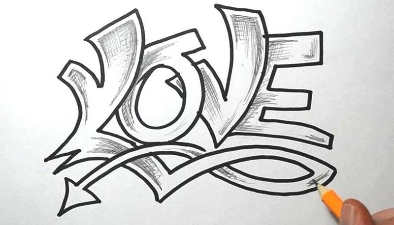 Как нарисовать граффити карандашом на бумаге