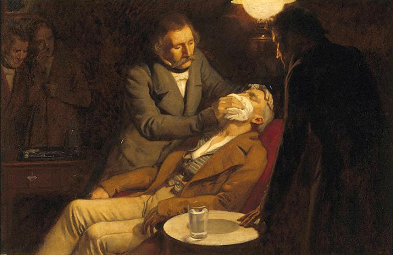 Эрнест Борд. «Стоматолог Уильям Мортон использует диэтиловый эфир вкачестве анестетика в1846году» (1920).