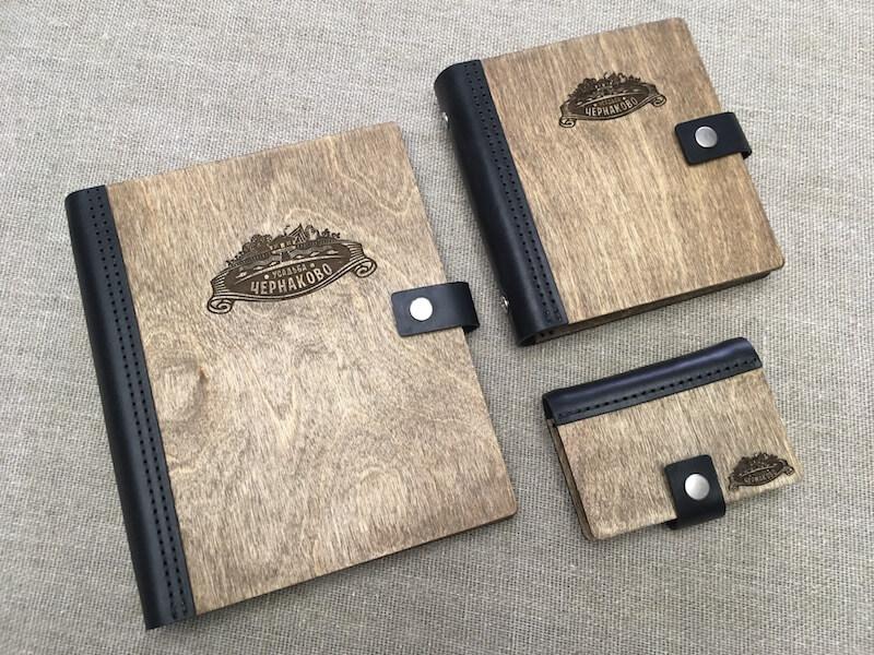 эксклюзивный блокнот из дерева и кожи, ежедневник из дерева и кожи, визитница из дерева и кожи