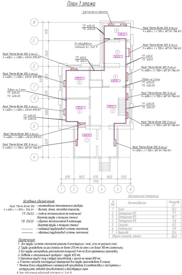 Проект радиаторного отопления 1-го этажа частного дома