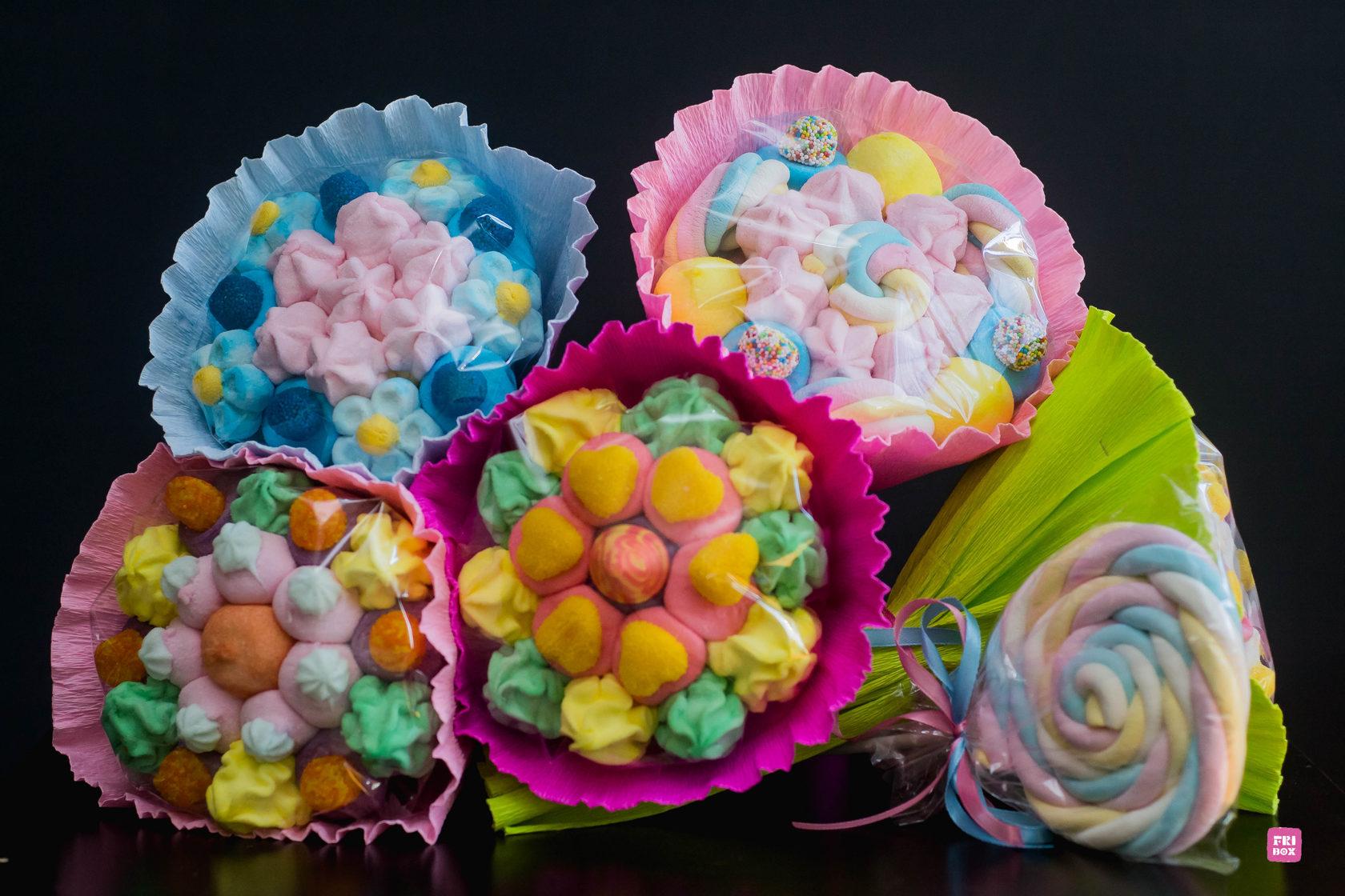 Букет из мармелада и печенья, для поздравлений днем
