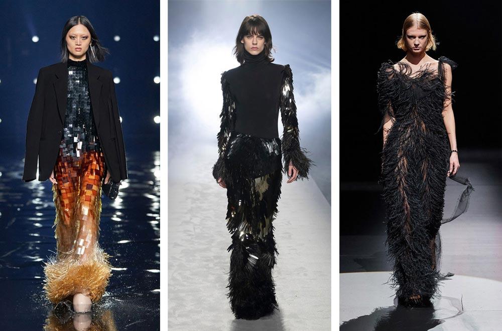 Вечерното облекло с пера, пайети и лъскави материи е сред водещите модни тенденции за 2022 според Вог.