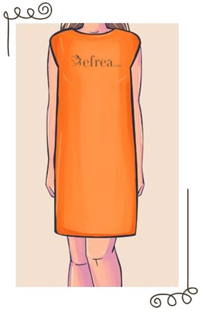 Права дамска рокля, подходяща е за офиса. Можете да подчертаете талията с колан.