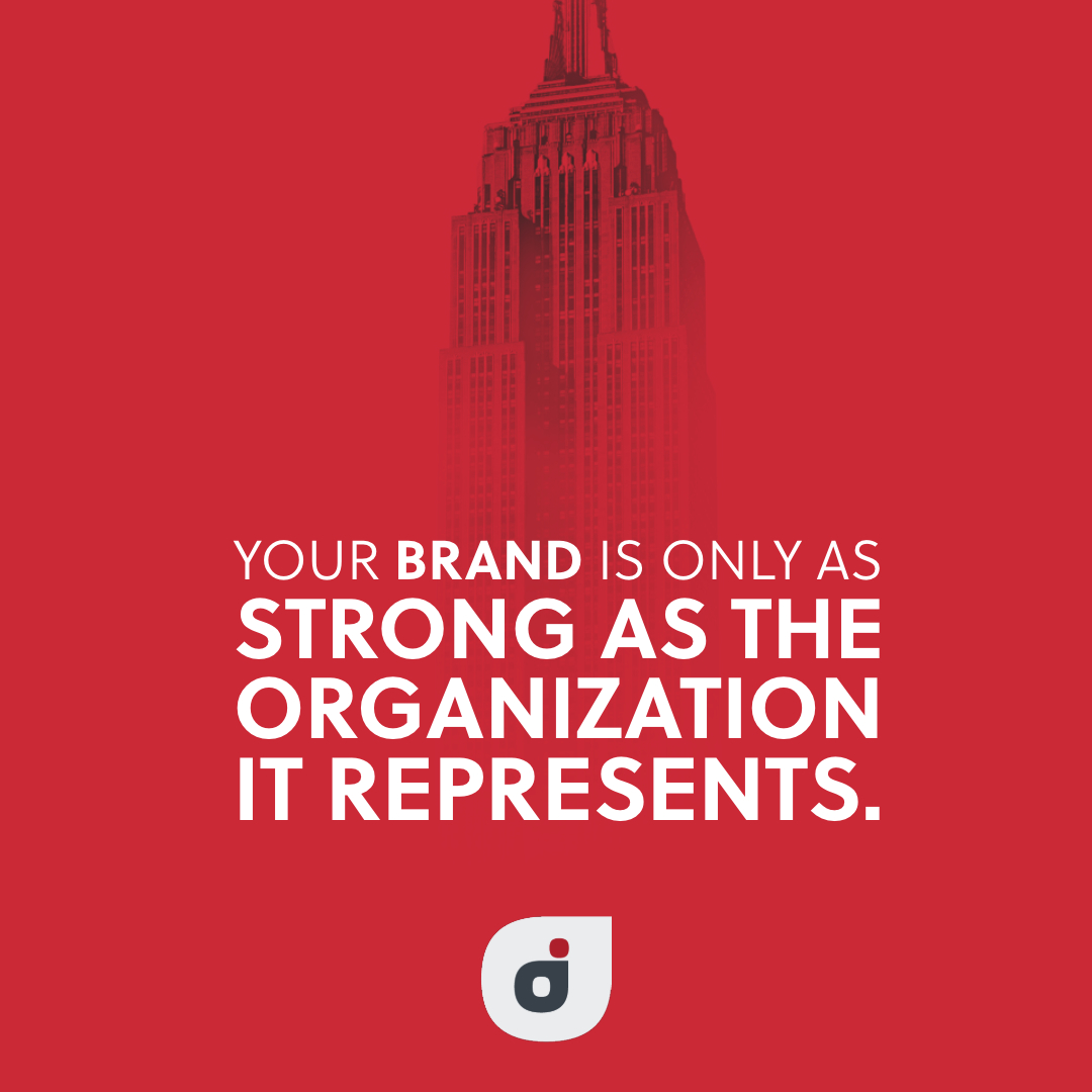 marketing strategy quote card about the strength of your brand and the strength of your organization