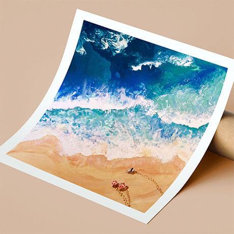 Fine Art Print. Surfers on the beach. Ocean painting by Olga Zonova. Ocean Art. Sea painting
