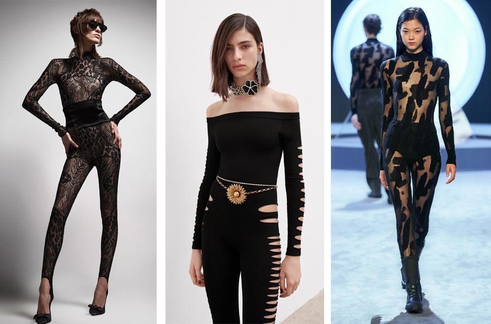 Модерни черни гащеризони на световни дизайнери в топ тенденциите за мода 2022 според Vogue.