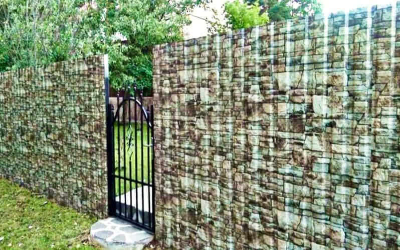 Забор из профнастила с цветом камня