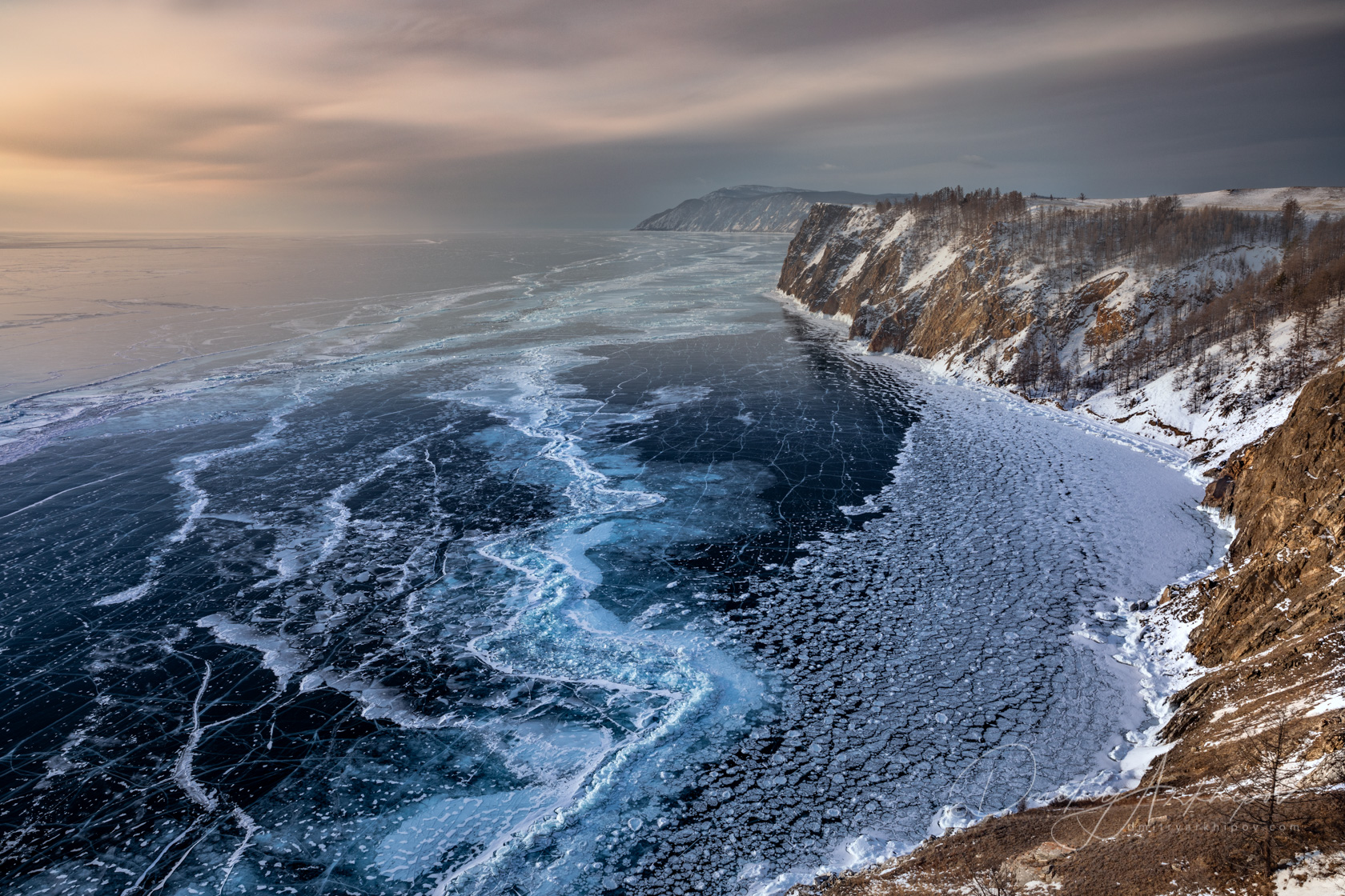 Beautiful ice on the Baikal in Winter