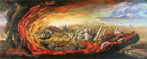 Виктор Орловский «Пустыня цивилизации» 1990 г. 80х200. смешанная техника