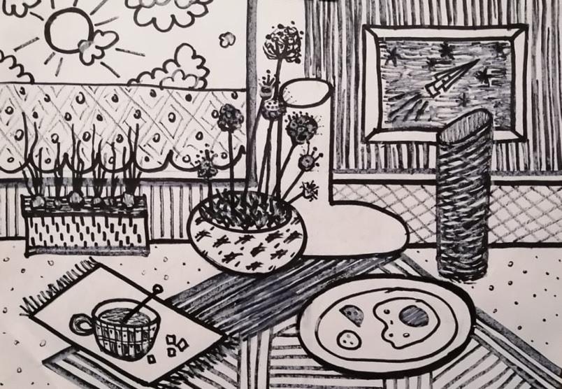 Макарова Ольга /тема «Декоративный натюрморт» / маркеры