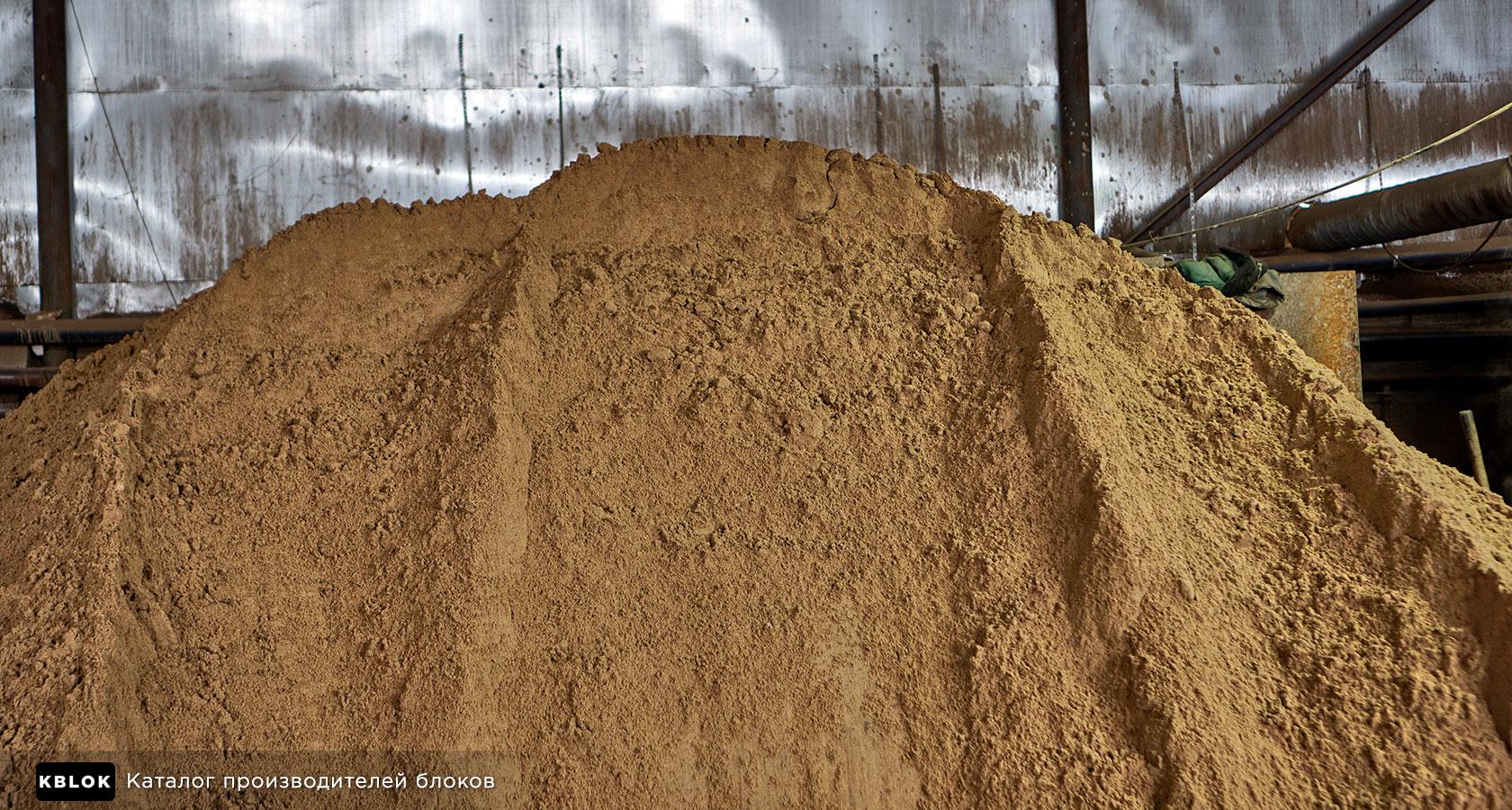 речной песок на производстве керамзитобетонных блоков