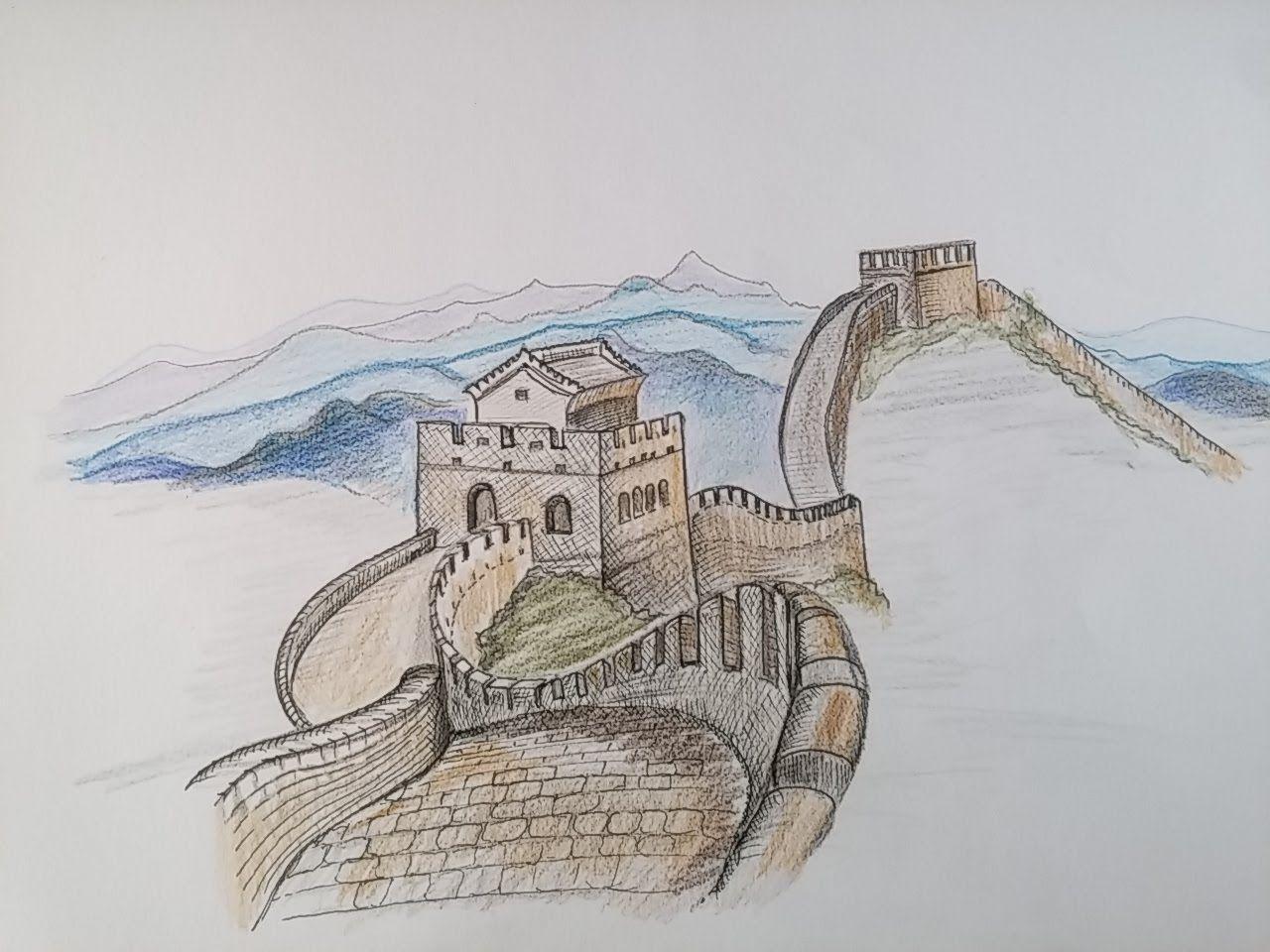 организациях рисунки черно белые китайской стены люди