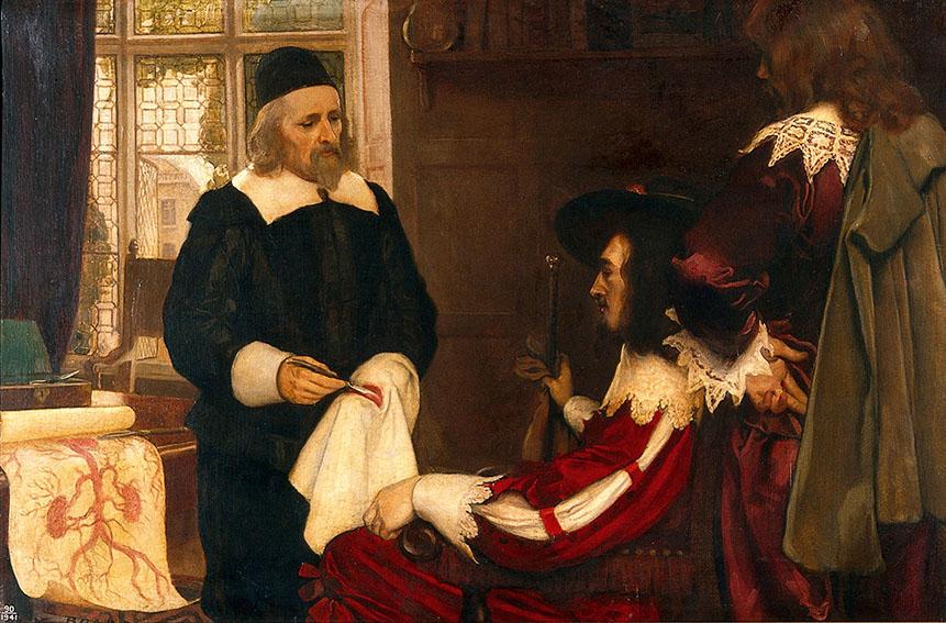 Эрнест Борд. «Уильям Гарвей демонстрирует Карлу I своютеорию циркуляции крови» (после 1912).