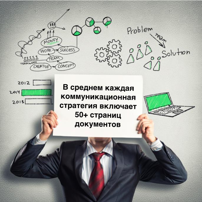 В среднем каждая коммуникационная стратегия включает 50+ страниц документов.