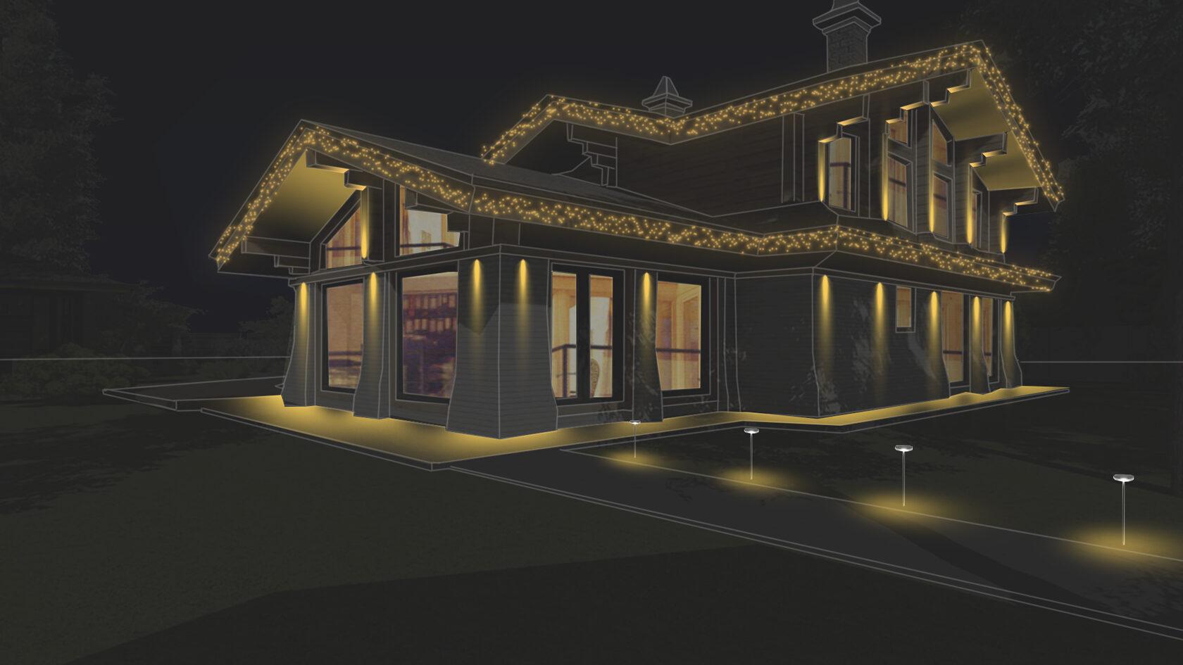 Итоговый эскиз фасадного освещения для частного дома