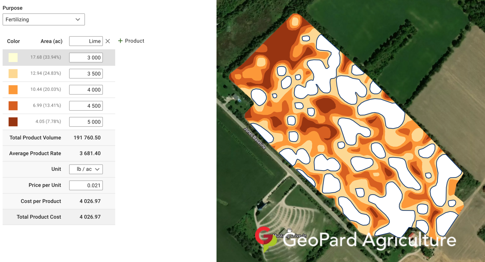 Variable rate Lime application based on SoilOptix pH levels. The cost of product is calculated by GeoPard