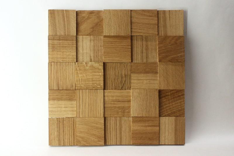 Деревянная 3D мозаика шлифованная из дуба цвет натуральный