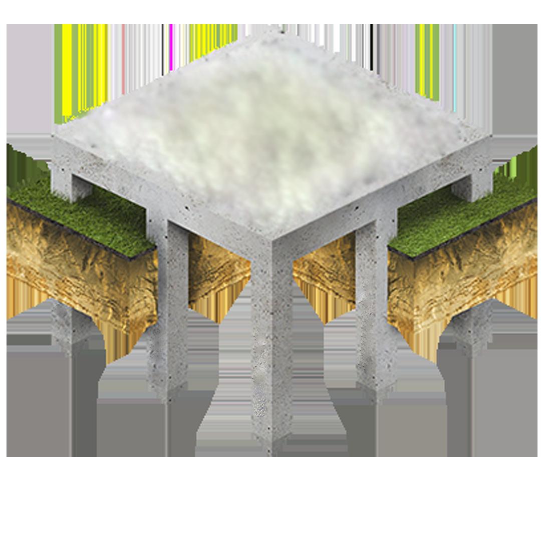 фундамент монолитная плита на сваях