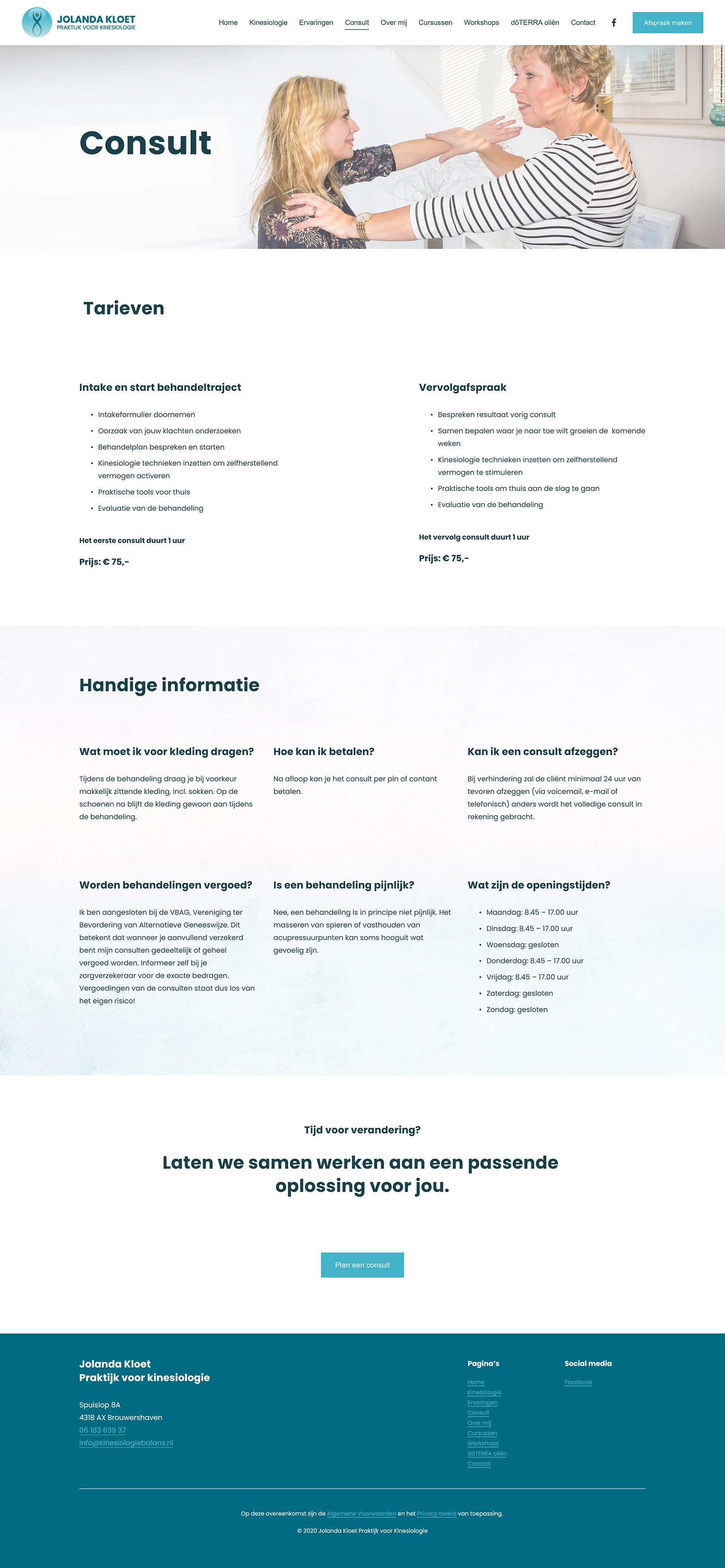 Website ontwerp Consult pagina Jolanda Kloet | Praktijk voor kinesiologie