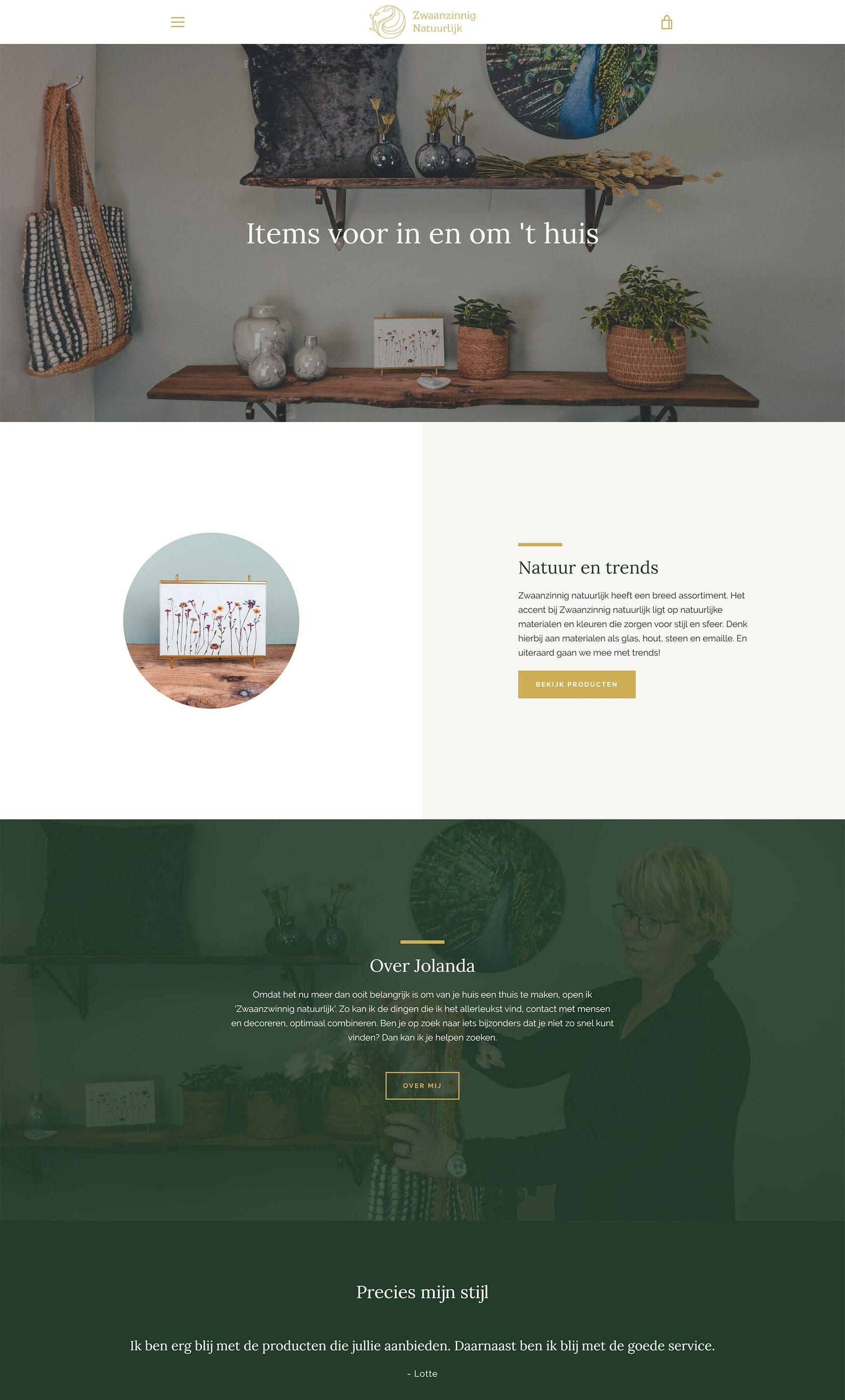 Website voorbeeld van project Zwaanzinnig Natuurlijk