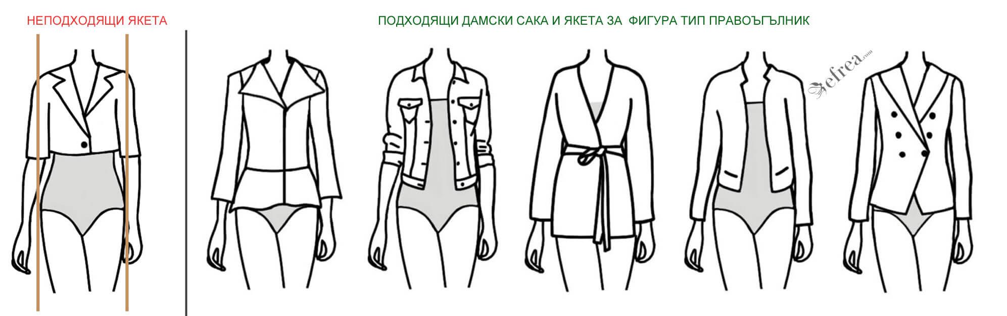 Различни видове дамски сака и якета за дами с фигура правоъгълник или колона
