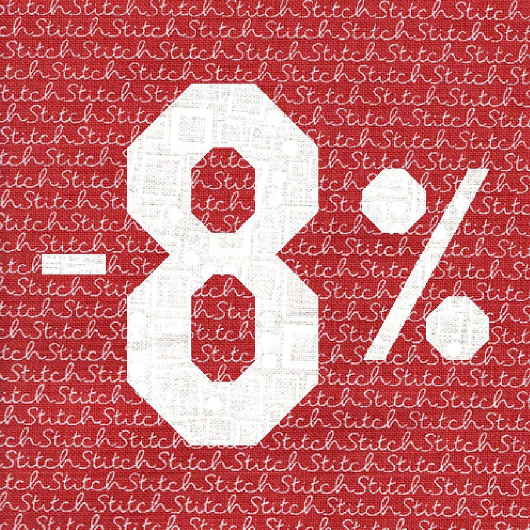 Скидка 8% на весь ассортимент интернет-магазина «Квилтиго»