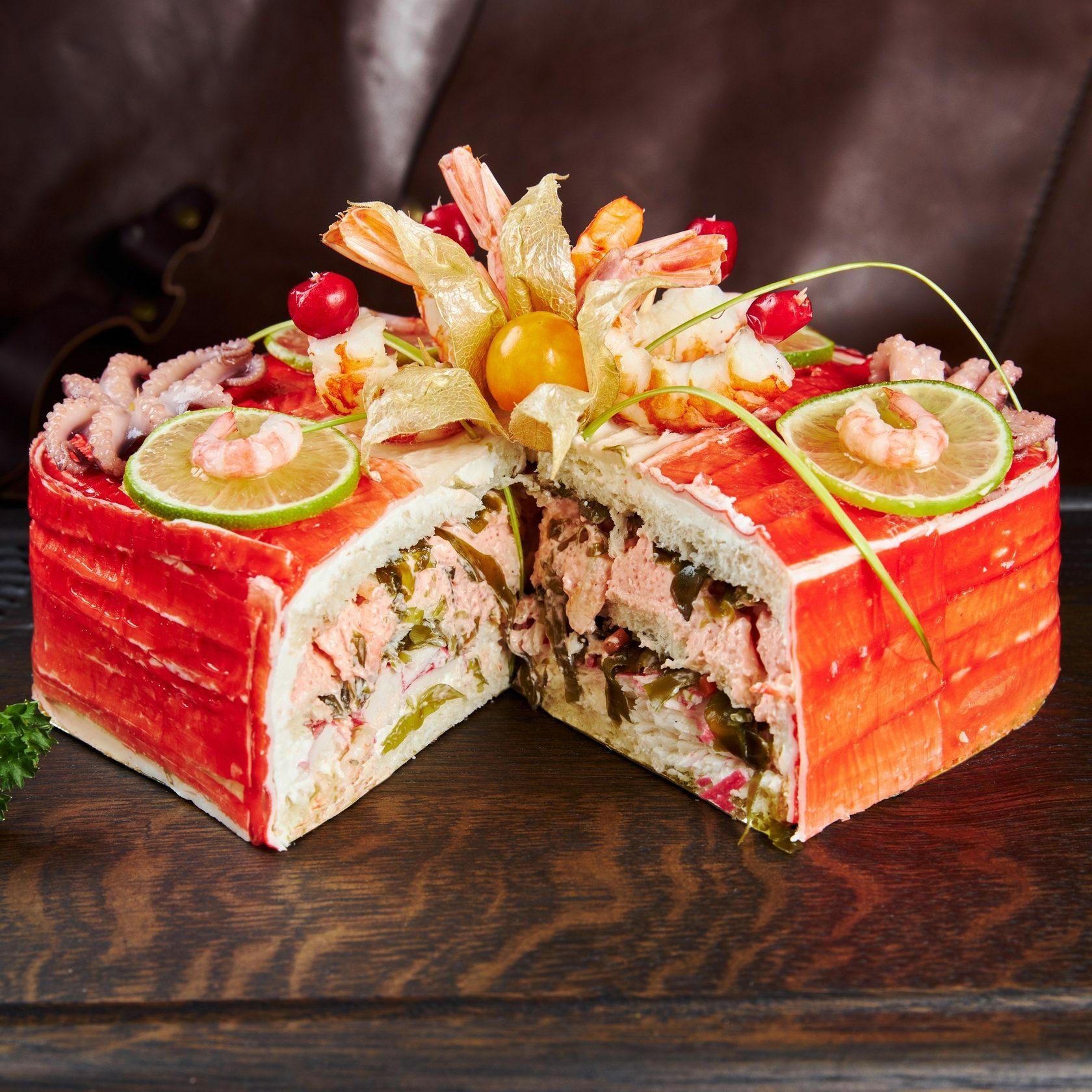торт морской коктейль, морской торт, торт с морепродуктами, торт с креветками, торт с рыбой, рыбный торт