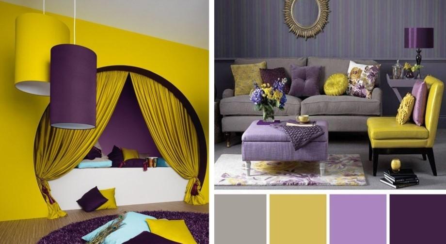 Сочетание желто-фиолетового в интерьере
