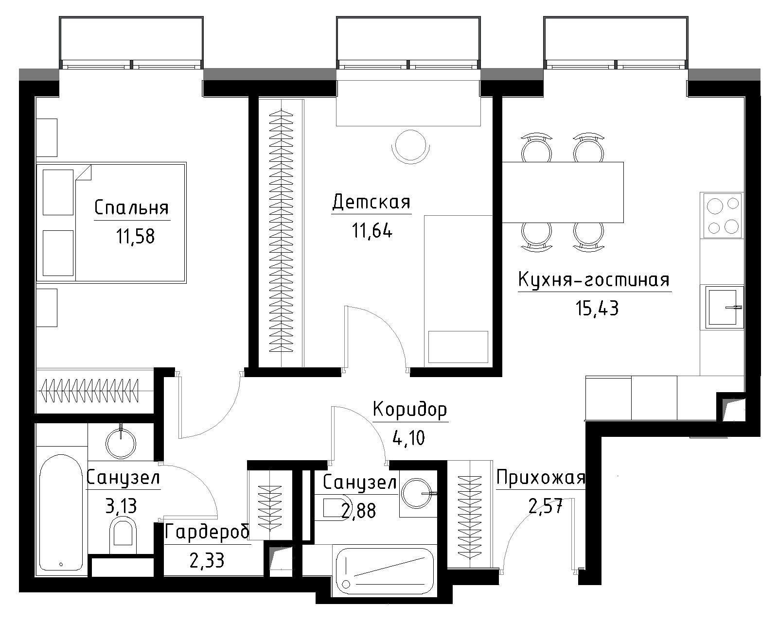 Планировка 2-комнатной квартиры в ЖК Метрополия