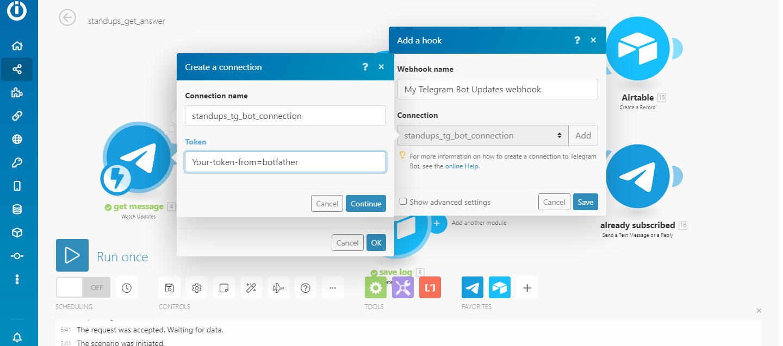 itegromat module telegram bot watch updates
