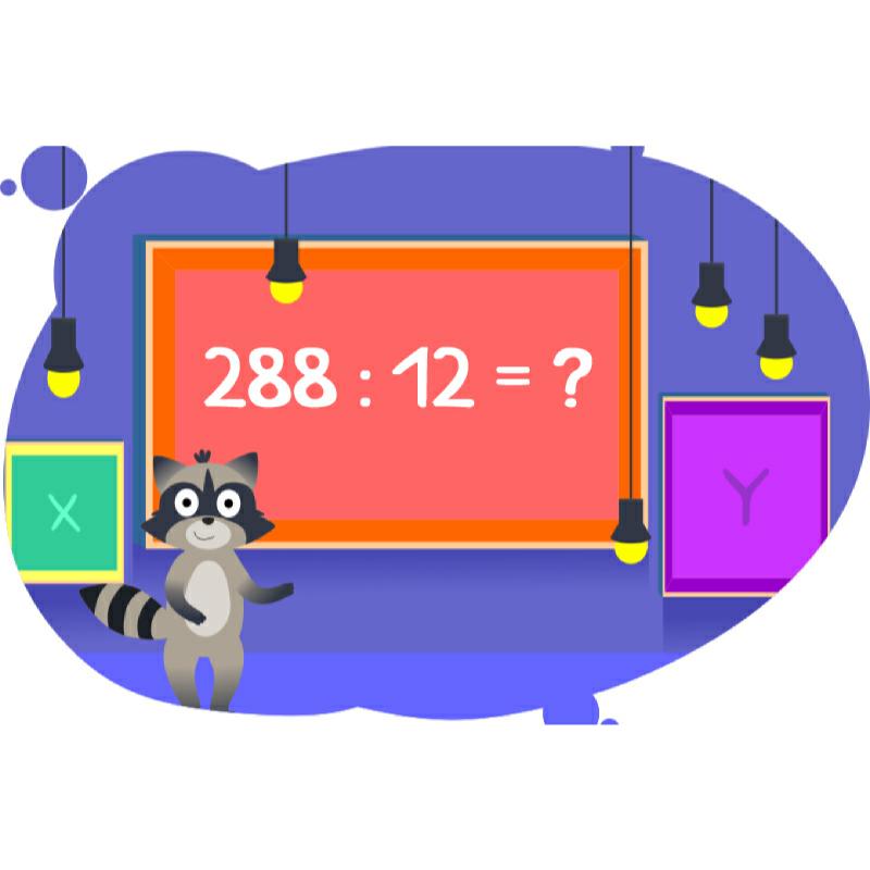 Енот показывает как делить 288 на 12