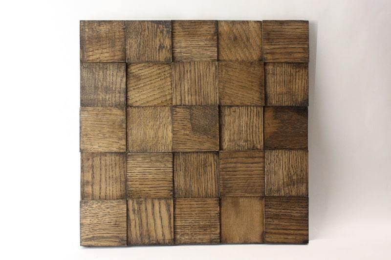 Деревянная 3D мозаика шлифованная из дуба цвет венге