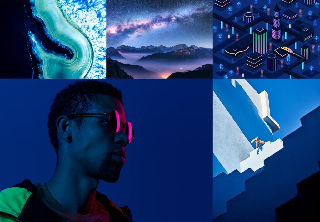 Примеры изображений Шаттерсток с Phantom Blue (фантомный синий) — цветом 2020 года