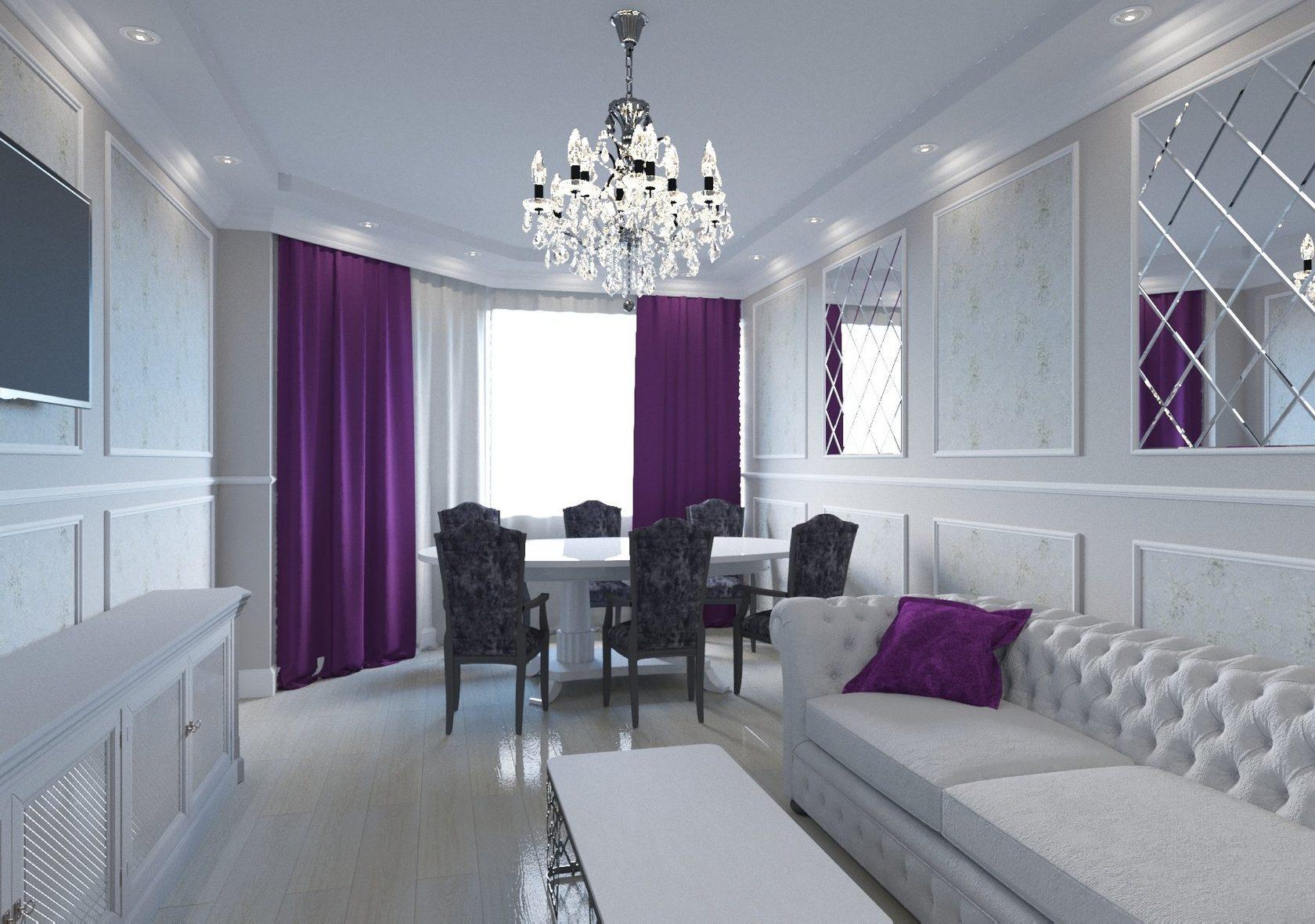 Стиль зала с фиолетовой стеной фото