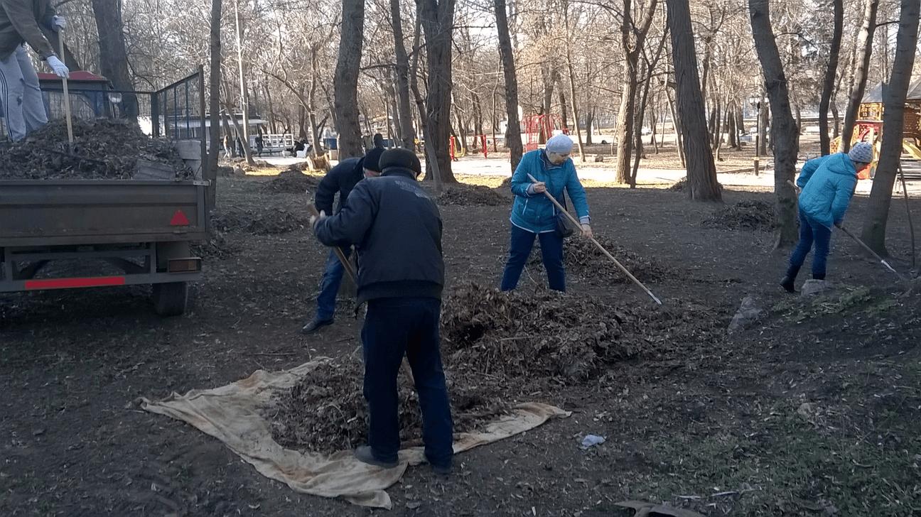 Субботник по уборке парка в Первомайске
