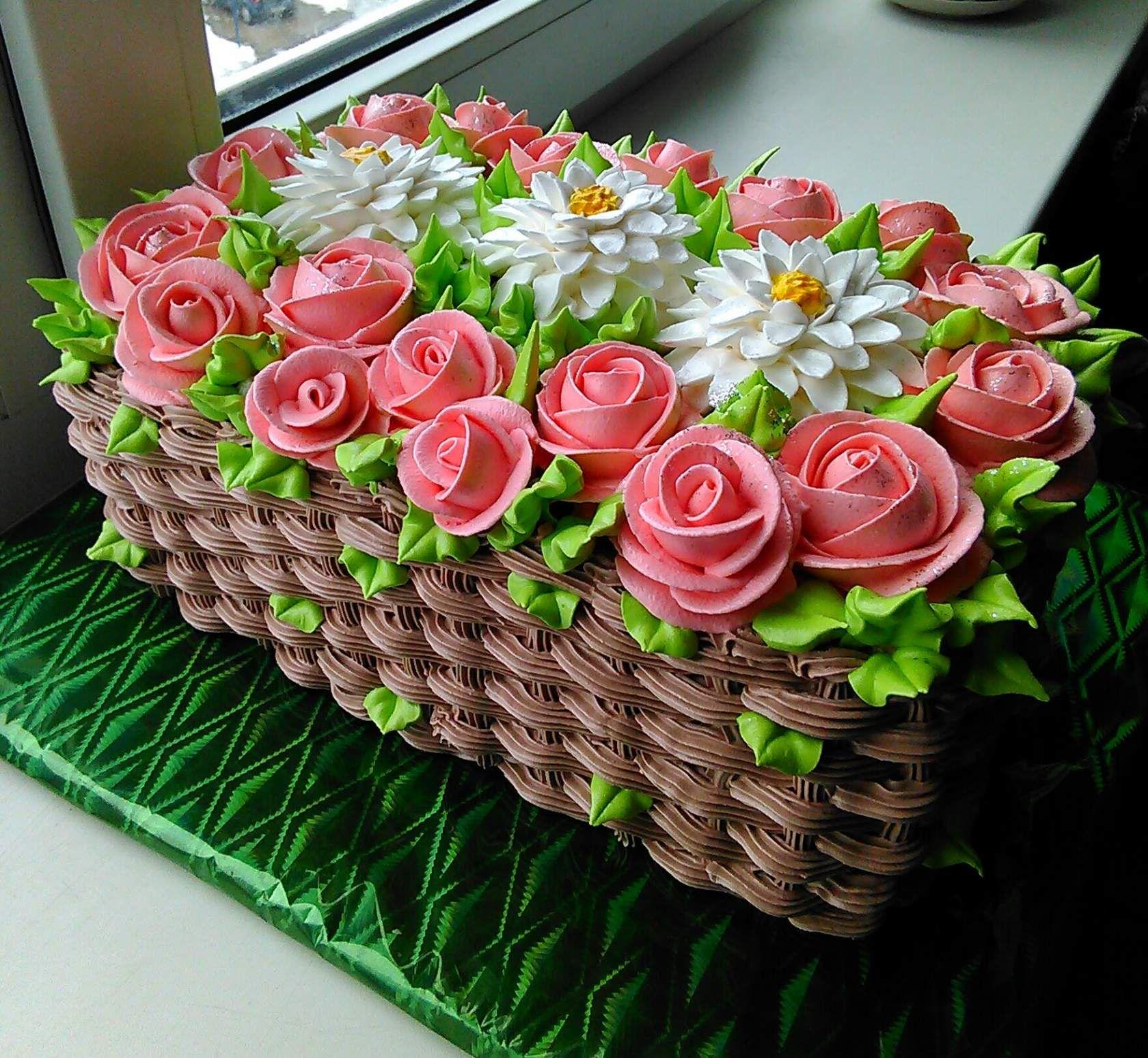 торт корзинка роз кремовый фото подвесных корзинках